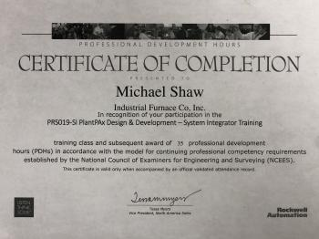 Certificate for System Integrator Training